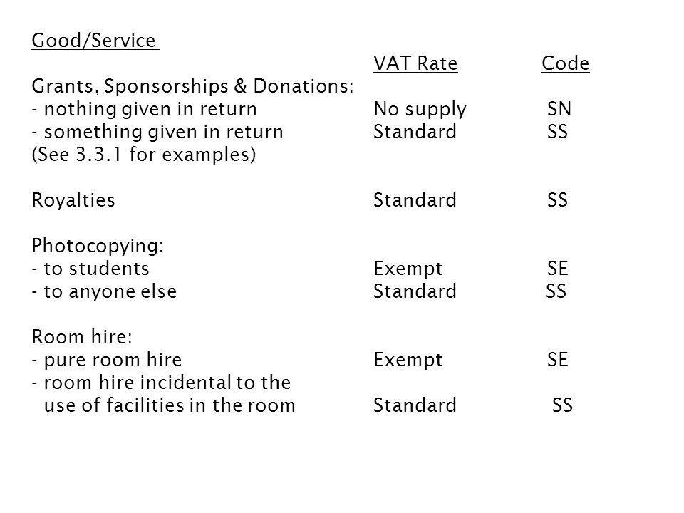 Good/service VAT RateCode Conferences: - organised by the University, including incidentalsExemptSE - organised with another body if subject matter is of an educational natureExemptSE Supply of staff StandardSS (However see 3.3.2) Books, publicationsZeroSZ Editorial servicesStandardSS Delivery chargesSame as item being delivered 20% or 0%SS or SZ