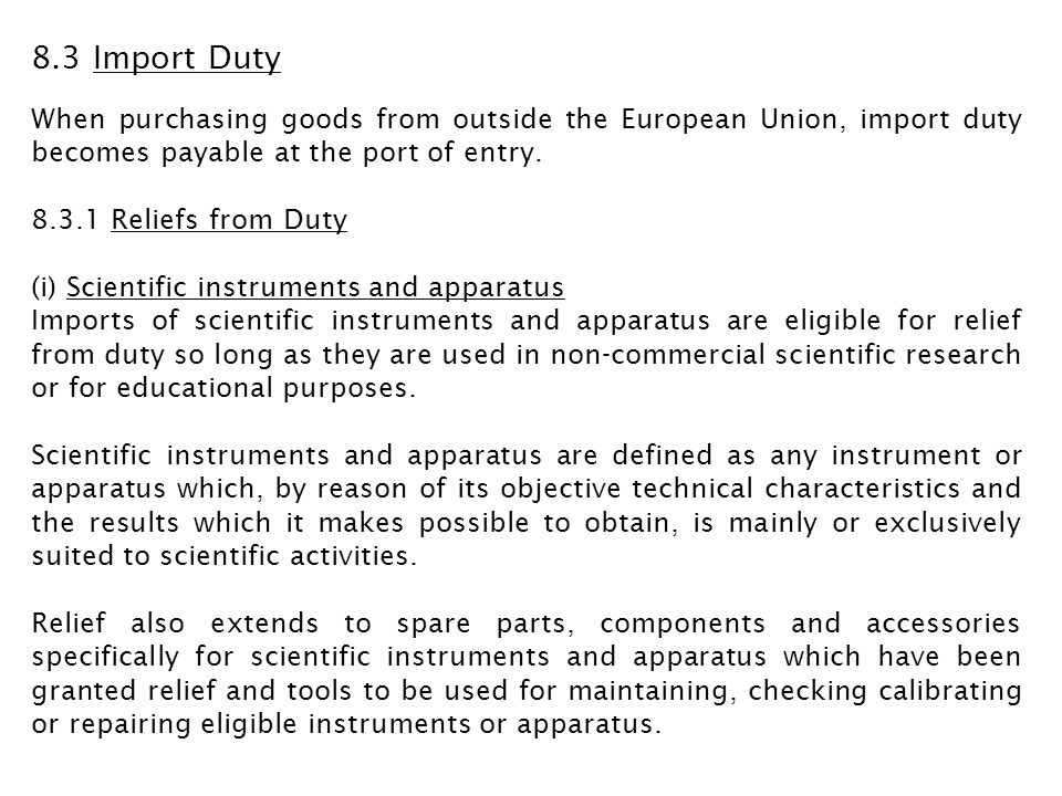 Application for exemption from duty under this releif must be made in advance of import by contacting the National Import Relief Unit of HMRC in Northern Ireland on 028 6632 2298.