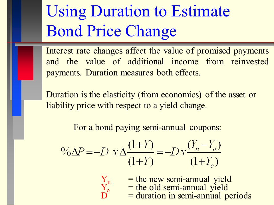EXAMPLE: 30 yr Treasury 12% coupon (paid semiannually) Duration = 20.87 semi-annual periods Old yield = 9% annual - New Yield = 8.5% annual =.05 = 5% QUESTION: Suppose two bonds are identical except that one pays annual coupons and the other pays semi-annual coupons.
