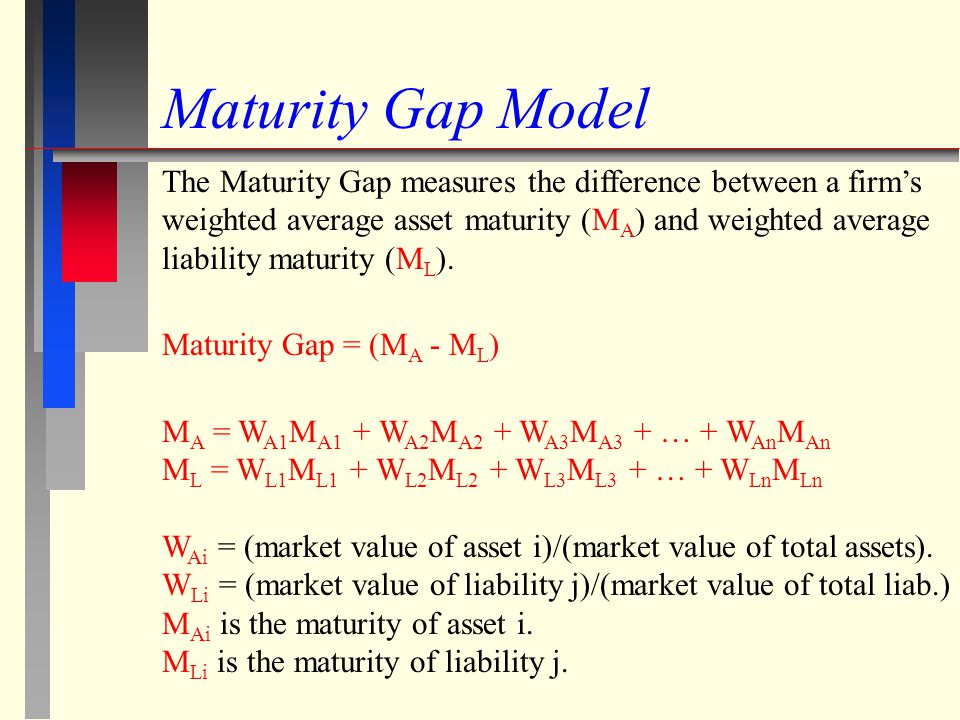 Maturity Gap and the Effect of Interest Rates on Equity Value When (M A - M L ) > 0 then an increase (decrease) in interest rates is expected to decrease (increase) a financial firms equity.