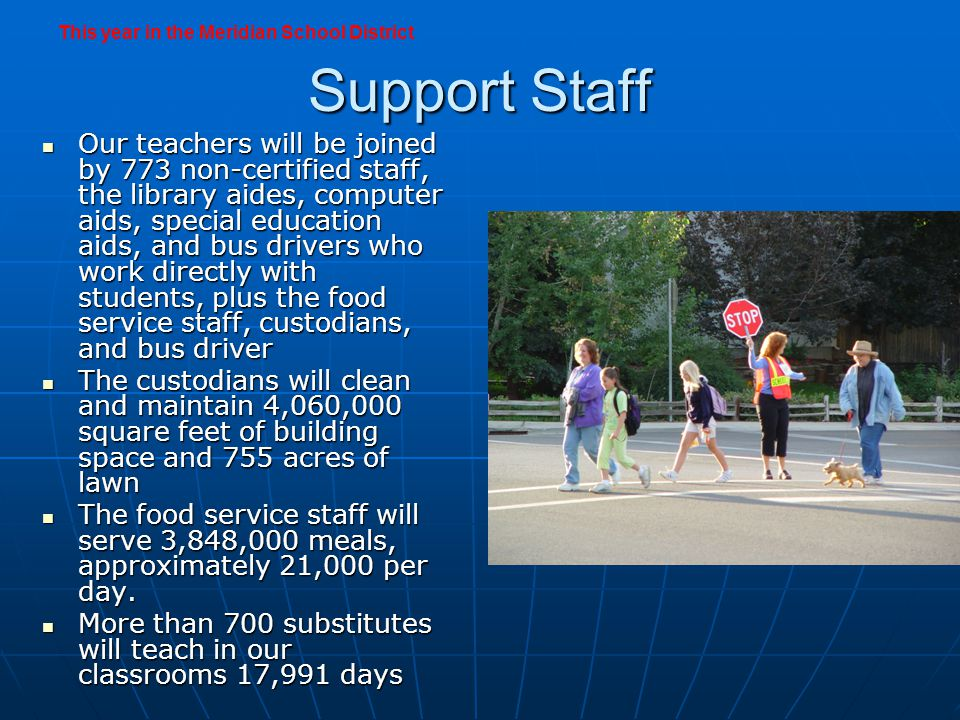 Transportation Bus drivers transport 14,500 students to school on 262 buses each day Bus drivers transport 14,500 students to school on 262 buses each day The bus fleet will log more than 3,000,000 miles The bus fleet will log more than 3,000,000 miles 18 of the buses are brand new; the oldest among the fleet first hit the road in 1987 18 of the buses are brand new; the oldest among the fleet first hit the road in 1987 This year in the Meridian School District