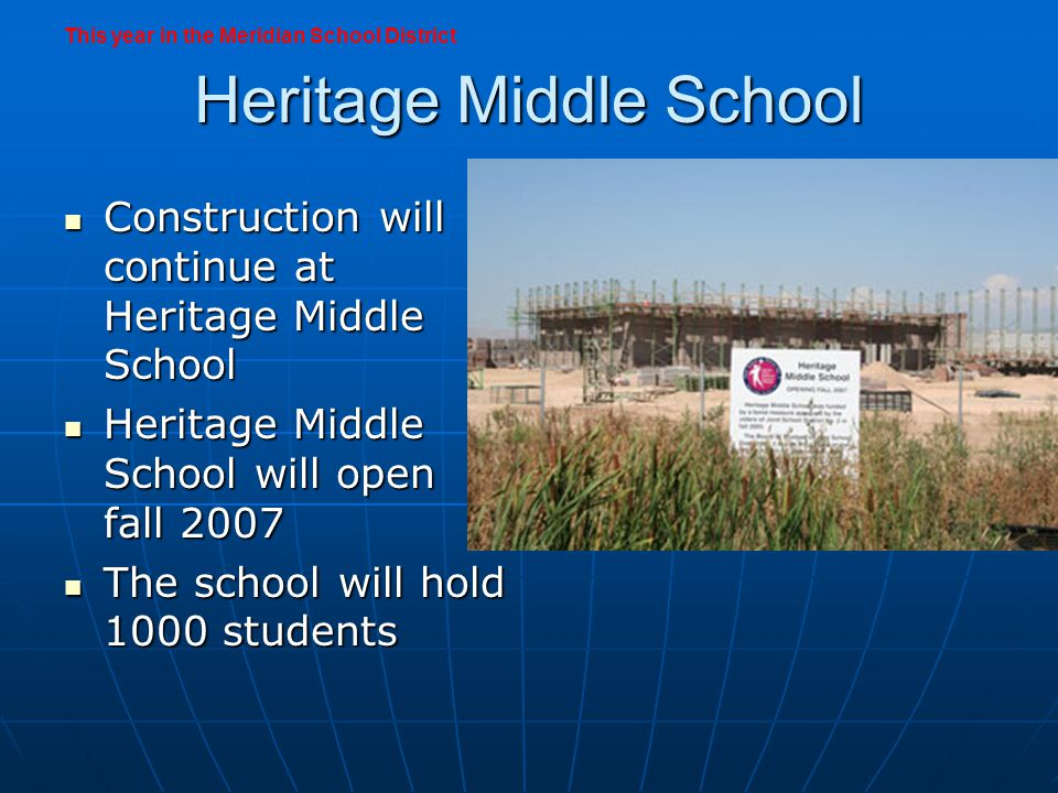 Rocky Mountain High School Construction on Rocky Mountain will allow the school to open for fall 2008 Construction on Rocky Mountain will allow the school to open for fall 2008 The school is designed for 1800 students The school is designed for 1800 students A parent committee will establish the attendance area for the school this fall A parent committee will establish the attendance area for the school this fall This year in the Meridian School District