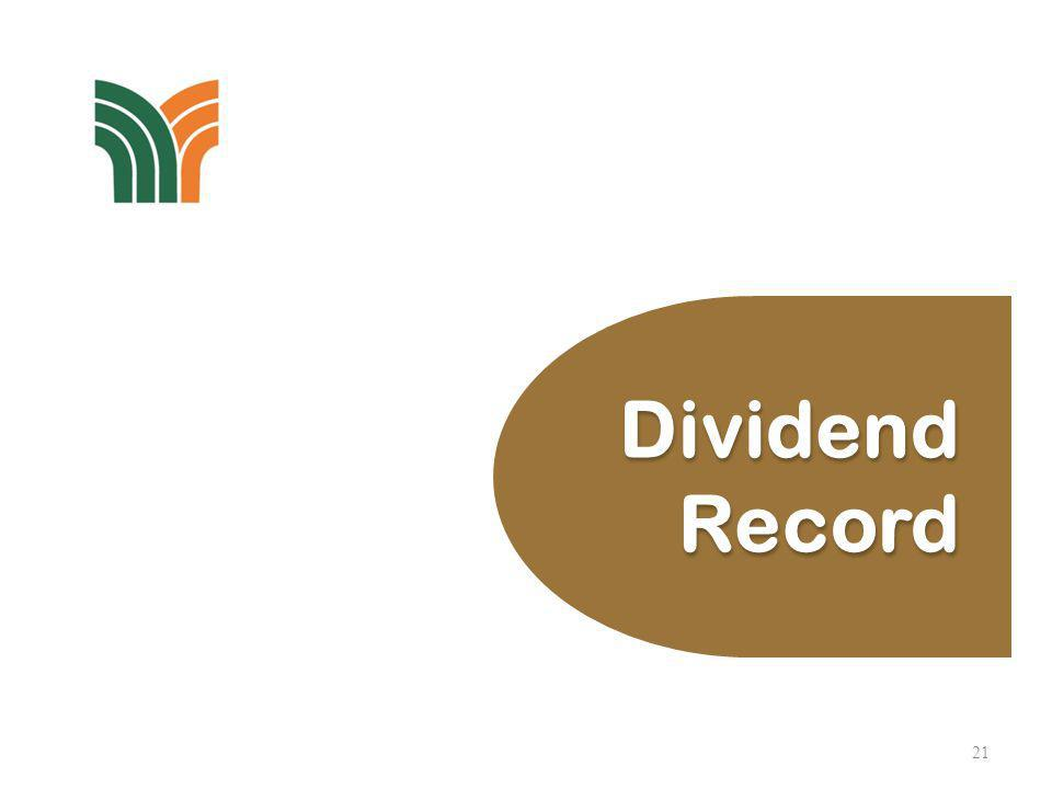 Dividend Record 22 DividendNet Payout Ratio Per ShareDividend GrossNetPaid/payableYieldGroupCompany Year (sen) (RM Million)(%) 2013 Interim # 88 94.840 0.622.284.3 2012 20 237.1001.728.263.0 2011 23 272.6651.327.828.4 2010* 88 1,043.2405.1100.1294.1 2009* 73 865.4154.653.614.8 * Include Special Dividends of 65 sen per share in year 2010 and 50 sen per share in year 2009.