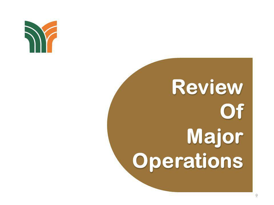 Review of Major Operations FLOUR & FEED MILLING, & GRAINS TRADING The increase in revenue for 1H2013 was primarily driven by higher sales volume and improved selling prices of flour and feed.