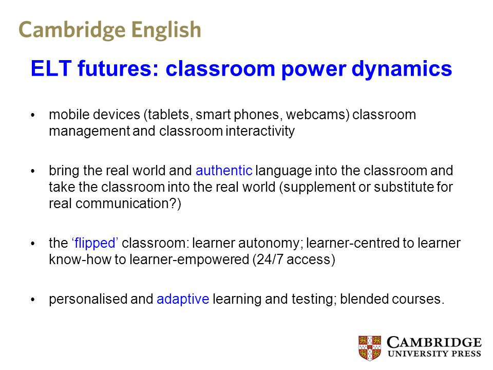 ELT futures: some concerns Language and content development.