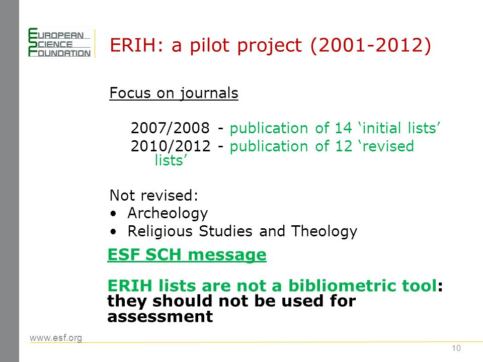 www.esf.org 11 ERIH Initial Lists : reactions (1) Criticism from research communities: national, disciplinary (e.g.