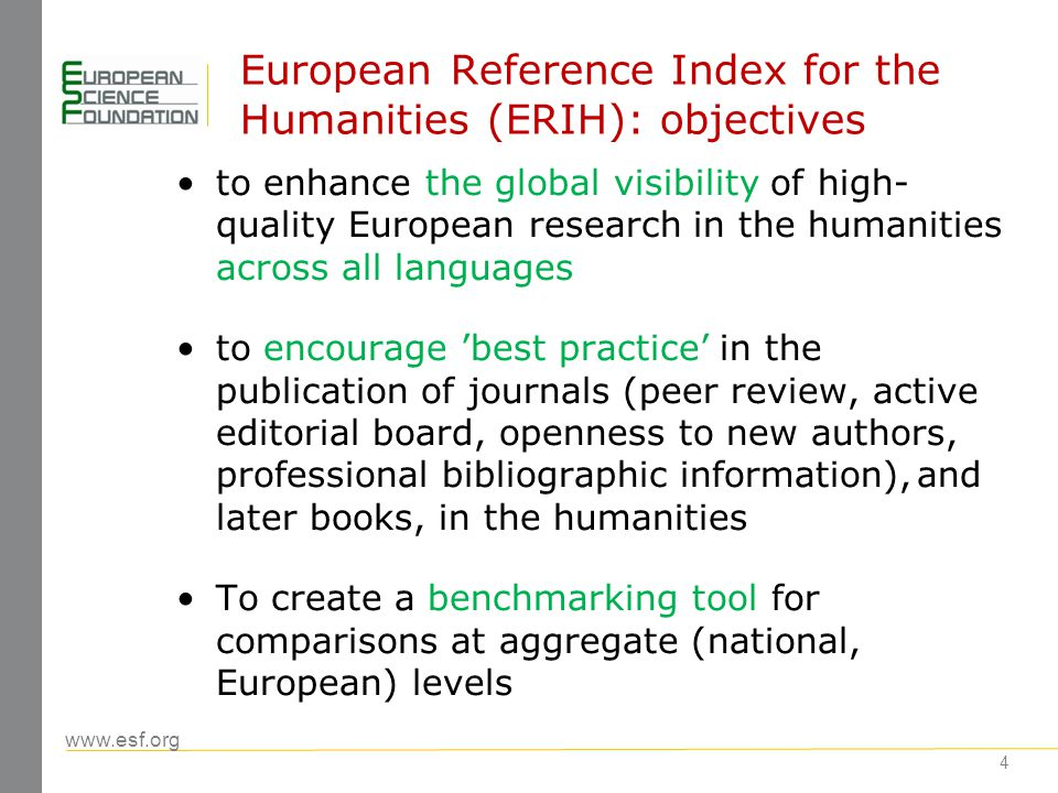 www.esf.org 5 ERIH: process Overall responsibility with the ESF Standing Committee for the Humanities (SCH) SCH nominates ERIH Steering Committee ERIH Steering Committee responsible for: –Identification of the disciplinary structure –Definition of methodology including the definition of categories –Approval of membership of Expert Panels –Validation of journal lists proposed by Expert Panels Peer review - the basis of methodology Phase 1: focus on journals; phase 2: including other publication formats