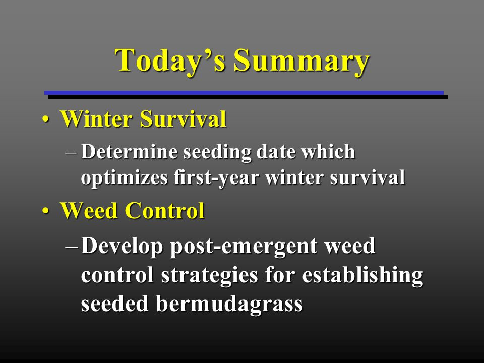 Winter Survival Seeding Date Effects on First-year Winter Survival