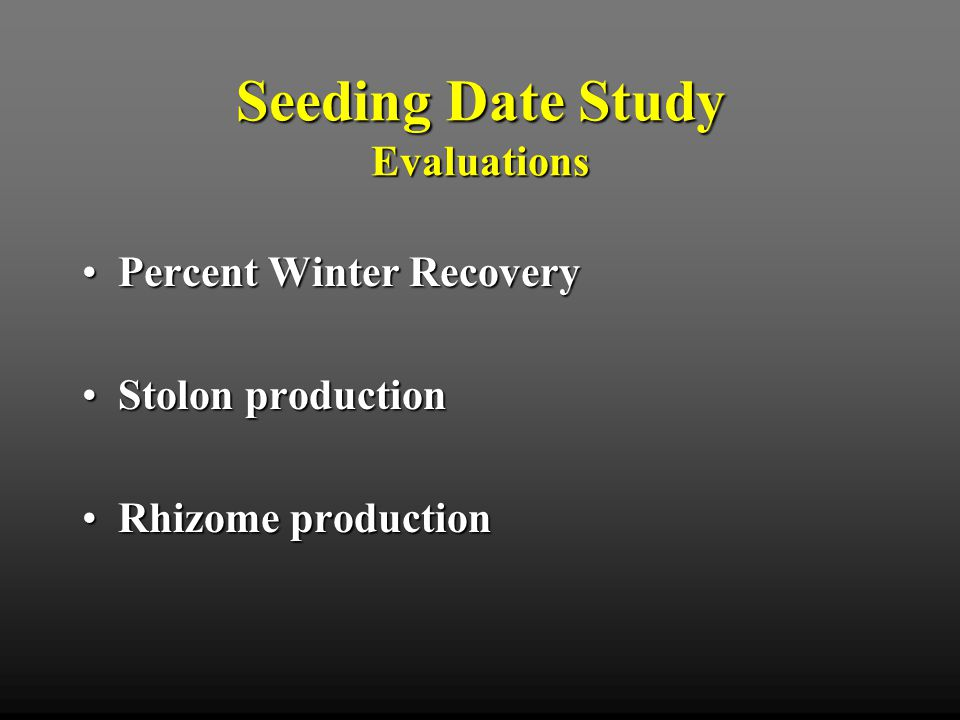 Severe low temperatures in the winter of 2000 caused significant injury to bermudagrass across northern Arkansas Fayetteville, AR