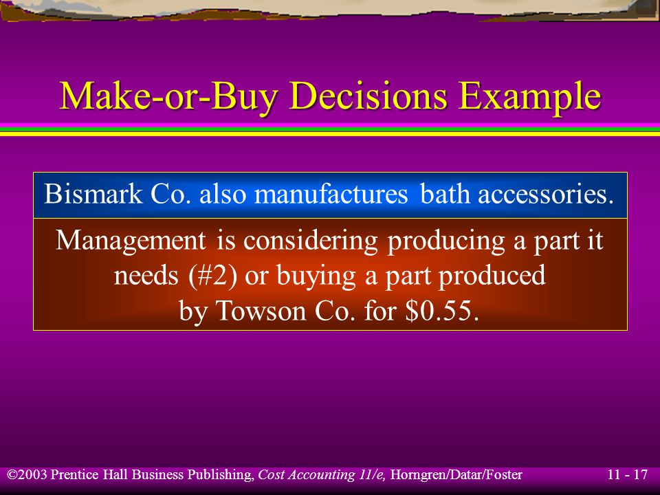 11 - 18 ©2003 Prentice Hall Business Publishing, Cost Accounting 11/e, Horngren/Datar/Foster Make-or-Buy Decisions Example Bismark Co.