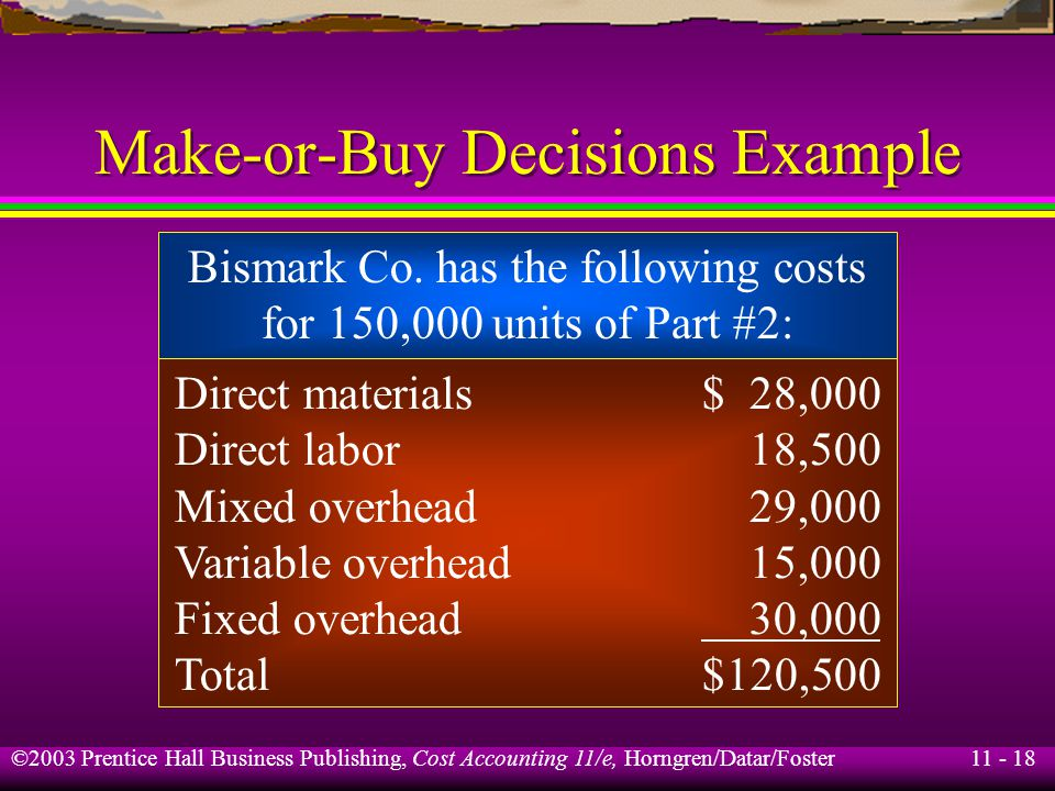 11 - 19 ©2003 Prentice Hall Business Publishing, Cost Accounting 11/e, Horngren/Datar/Foster Make-or-Buy Decisions Example Mixed overhead consists of material handling and setup costs.