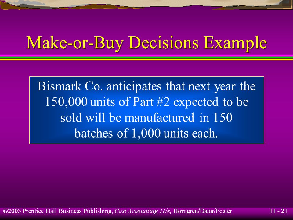 11 - 22 ©2003 Prentice Hall Business Publishing, Cost Accounting 11/e, Horngren/Datar/Foster Make-or-Buy Decisions Example Variable costs per batch are expected to decrease to $100.