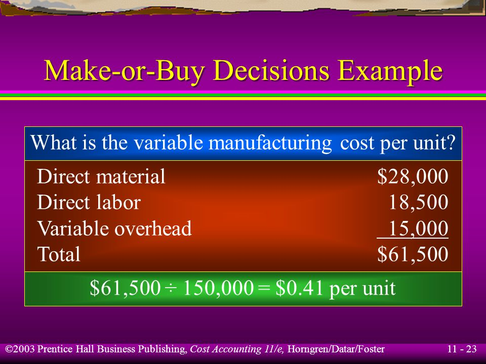 11 - 24 ©2003 Prentice Hall Business Publishing, Cost Accounting 11/e, Horngren/Datar/Foster Make-or-Buy Decisions Example Expected relevant cost to make Part #2: Cost to buy: (150,000 × $0.55) $82,500 Manufacturing$61,500 Material handling and setups 15,000* Total relevant cost to make$76,500 *150 × $100 = $15,000 Bismark Co.