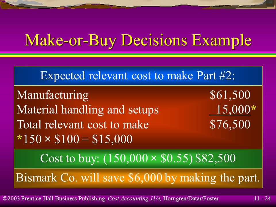 11 - 25 ©2003 Prentice Hall Business Publishing, Cost Accounting 11/e, Horngren/Datar/Foster Make-or-Buy Decisions Example Now assume that the $9,000 in fixed clerical salaries to support material handling and setup will not be incurred if Part #2 is purchased from Towson Co..