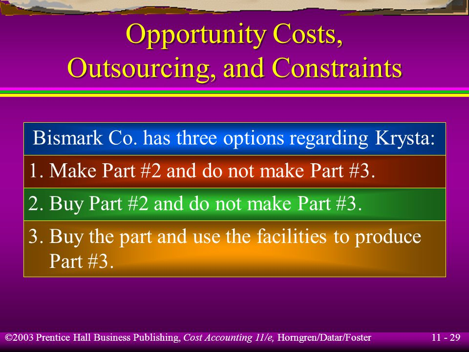 11 - 30 ©2003 Prentice Hall Business Publishing, Cost Accounting 11/e, Horngren/Datar/Foster Opportunity Costs, Outsourcing, and Constraints Expected cost of obtaining 150,000 parts: Buy Part #2 and do not make Part #3:$82,500 Buy Part #2 and make Part #3: $82,500 – $18,000 =$64,500 Make Part #2:$76,500