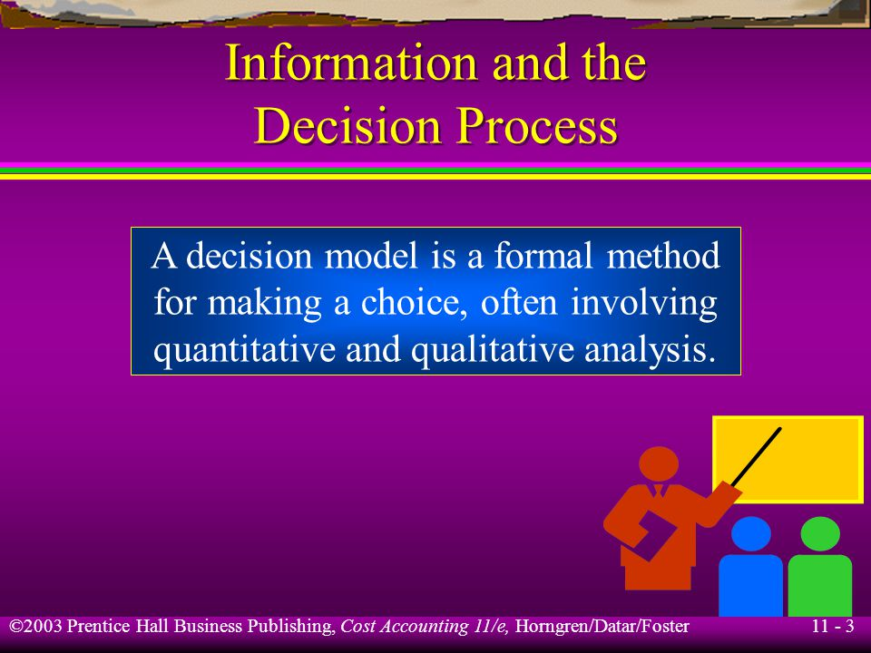 11 - 4 ©2003 Prentice Hall Business Publishing, Cost Accounting 11/e, Horngren/Datar/Foster Five-Step Decision Process Gather Information Make Predictions Choose an Alternative Implement the Decision Evaluate Performance Step 1.