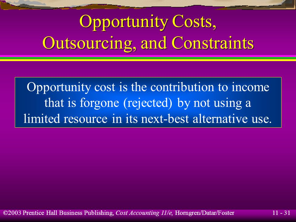 11 - 32 ©2003 Prentice Hall Business Publishing, Cost Accounting 11/e, Horngren/Datar/Foster Opportunity Costs, Outsourcing, and Constraints Assume that annual estimated Part #2 requirements for next year is 150,000.