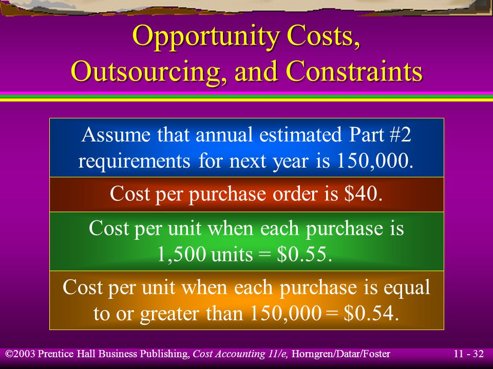 11 - 33 ©2003 Prentice Hall Business Publishing, Cost Accounting 11/e, Horngren/Datar/Foster Opportunity Costs, Outsourcing, and Constraints Average investment in inventory is either: (1,500 ×.55) ÷ 2 = $412.50 or (150,000 × $0.54) = $40,500 Annual interest rate for investment in government bonds is 6%.