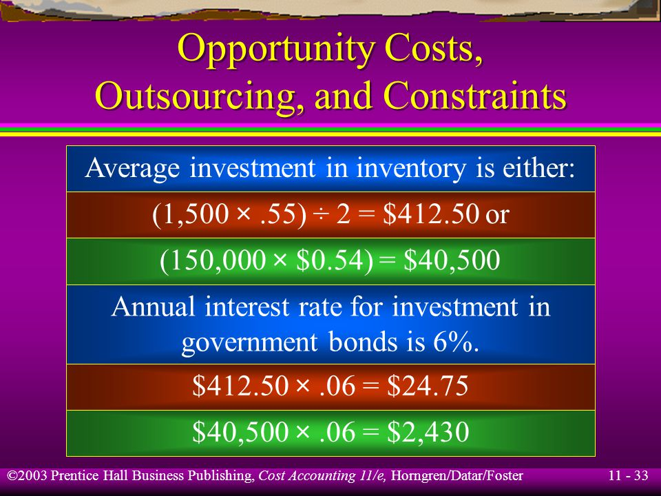 11 - 34 ©2003 Prentice Hall Business Publishing, Cost Accounting 11/e, Horngren/Datar/Foster Opportunity Costs, Outsourcing, and Constraints Option A: Make 100 purchases of 1,500 units: Purchase order costs: (100 × $40)$ 4,000.00 Purchase costs: (150,000 × $0.55)$82,500.00 Annual interest income:$ 24.75 Relevant costs:$86,524.75