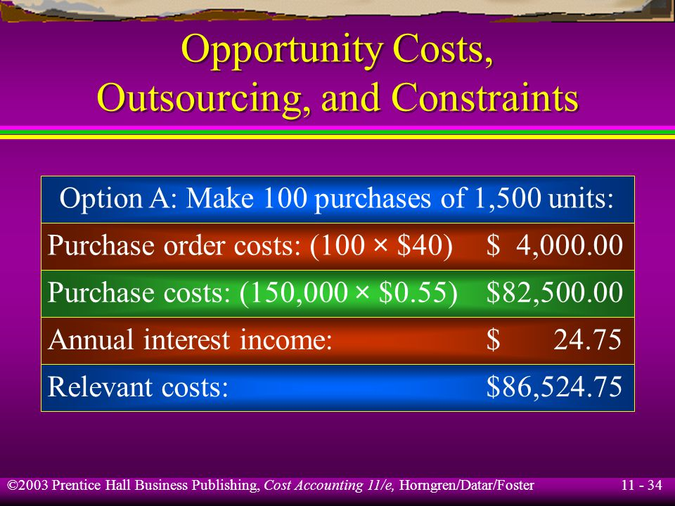 11 - 35 ©2003 Prentice Hall Business Publishing, Cost Accounting 11/e, Horngren/Datar/Foster Opportunity Costs, Outsourcing, and Constraints Option B: Make 1 purchase of 150,000 units: Purchase order costs: (1 × $40)$ 40 Purchase costs: (150,000 × $0.54)$81,000 Annual interest income:$ 2,430 Relevant costs:$83,470