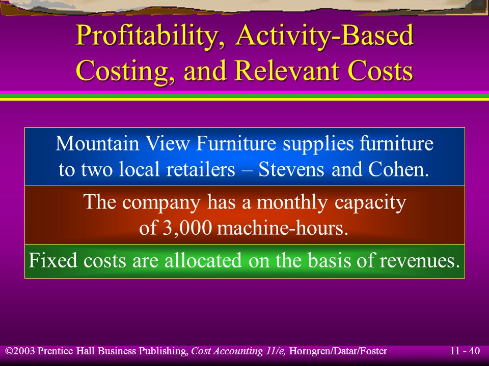 11 - 41 ©2003 Prentice Hall Business Publishing, Cost Accounting 11/e, Horngren/Datar/Foster Profitability, Activity-Based Costing, and Relevant Costs Stevens Cohen Revenues$200,000$100,000 Variable costs 70,000 60,000 Fixed costs 100,000 50,000 Total operating costs$170,000$110,000 Operating income$ 30,000$(10,000) Machine-hours required 2,000 1,000