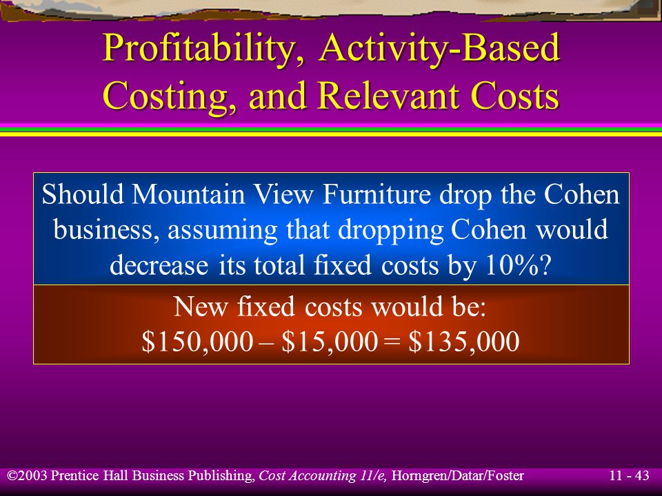 11 - 44 ©2003 Prentice Hall Business Publishing, Cost Accounting 11/e, Horngren/Datar/Foster Profitability, Activity-Based Costing, and Relevant Costs Stevens Alone Revenues$200,000 Variable costs 70,000 Fixed costs 135,000 Total operating costs$205,000 Operating income$ (5,000) Machine-hours required 3,000