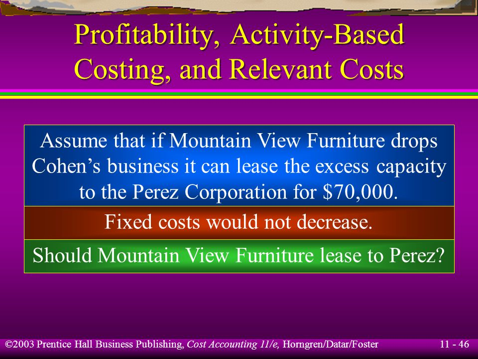 11 - 47 ©2003 Prentice Hall Business Publishing, Cost Accounting 11/e, Horngren/Datar/Foster Learning Objective 8 Explain why the book value of equipment is irrelevant in equipment-replacement decisions.