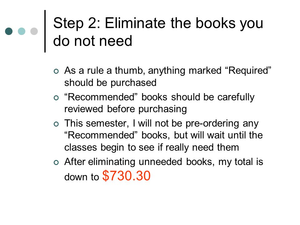Step 3: Determine low market price for each book Before buying anything, you should determine what each book generally sells for (the book store sells at MSRP, so it is not a good indication of low market price) To do this, copy the ISBN number for each book from the bookstore readout: