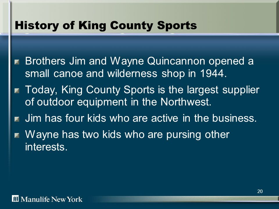 21 The Facts In 1953, King County Sports was incorporated.