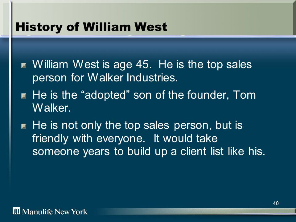 41 The Facts William West is the Sales Leader.