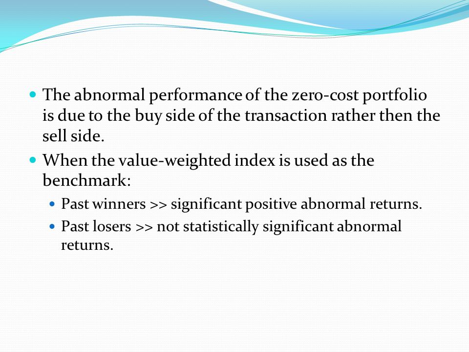 Section V: Sub Period Analysis Seasonal patterns in relative strength portfolio returns Conjecture is that relative strength patterns will not be successful in the month of January Magnitude of the negative January performance of the relative strength strategy to be inversely related to firm size The negative average relative strength return in January is not statistically significant for the subsample of large firms.