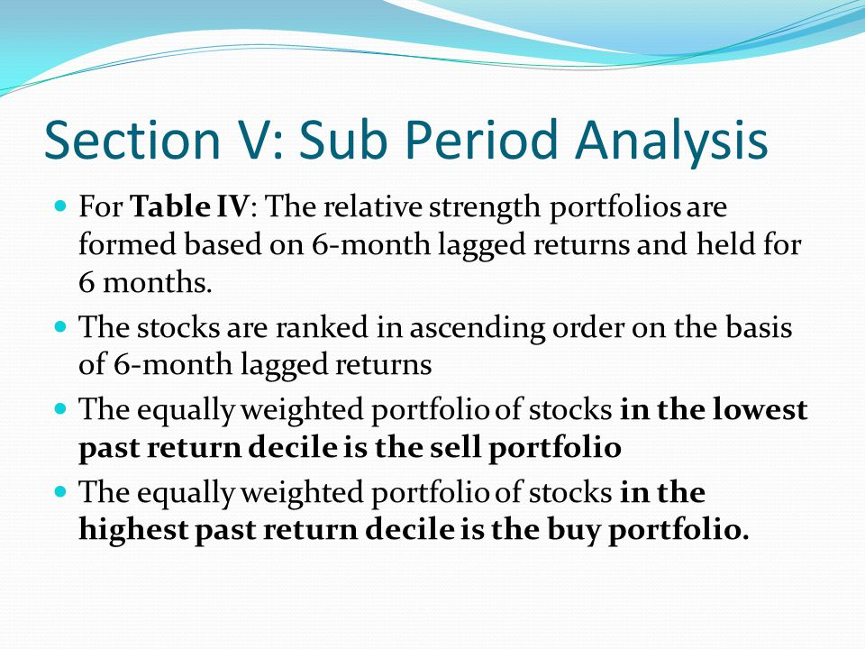 Section V: Sub Period Analysis Table IV reports the average monthly returns of the zero-cost, buy minus sell, portfolio in each calendar month.