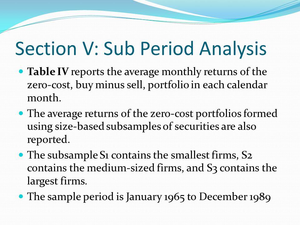 Table IV: Returns on Size-Based Relative Strength Portfolios (P10-PI) by Calendar Months