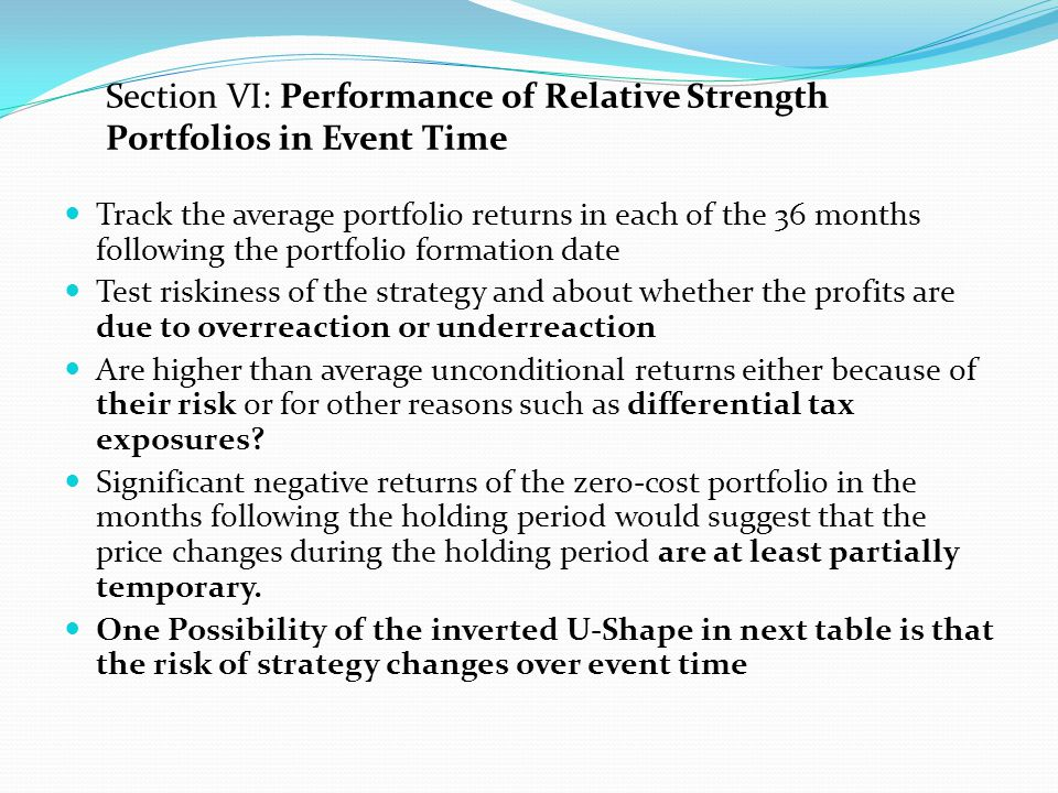 Table VII: Performance of Relative Strength Portfolios in Event Time With the exception of month 1, the average return in each month is positive in the first year.