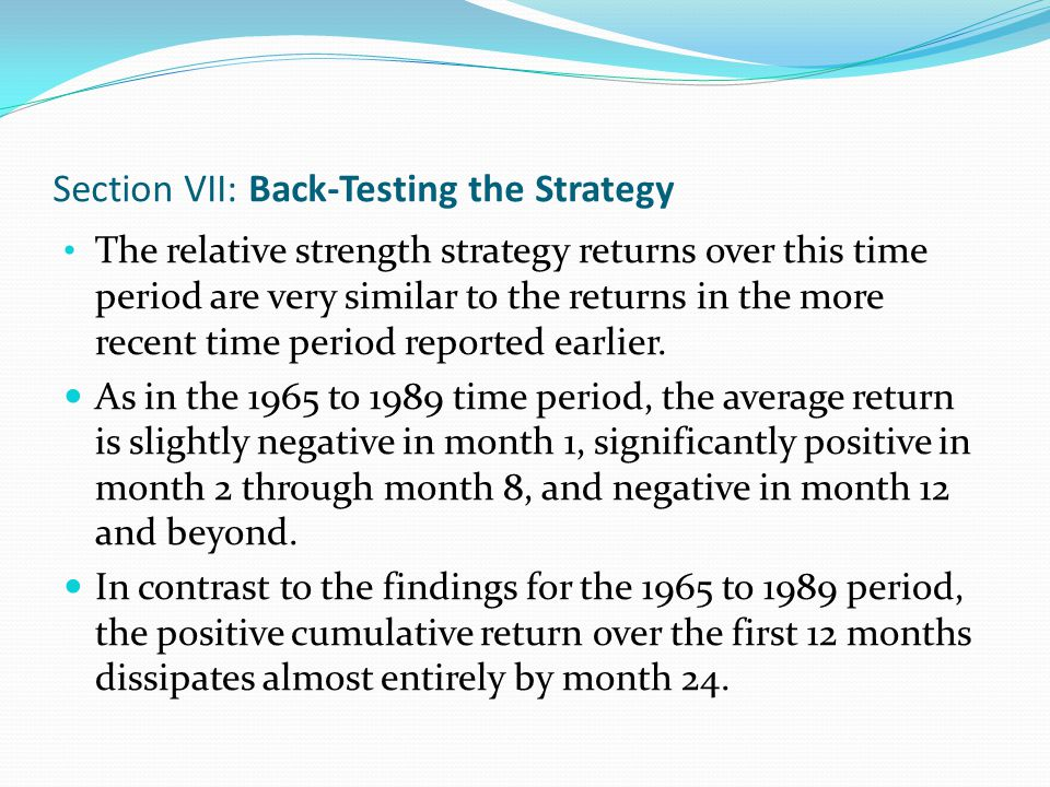 Section VIII: Stock Returns Around Earnings Announcement Dates This section examines the returns of past winners and losers around their quarterly earnings announcement dates.