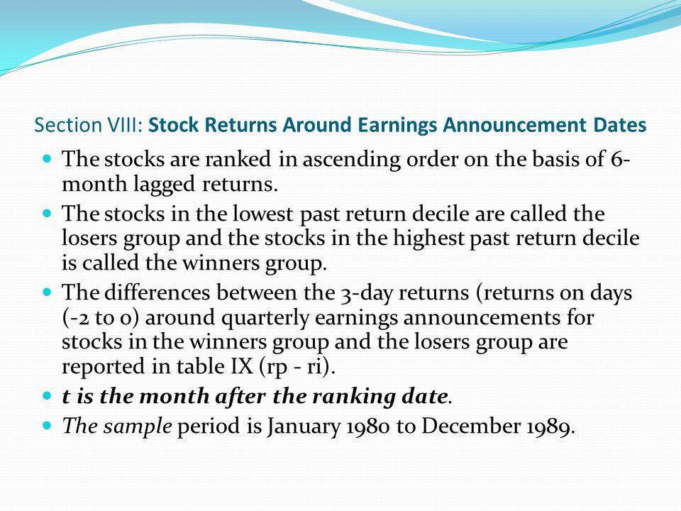 Table IX: Quarterly Earnings Announcement Date Returns