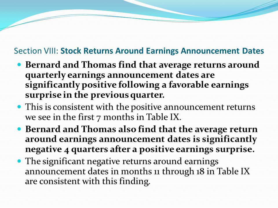Conclusions Trading strategies that buy past winners and sell past losers realize significant abnormal returns over the 1965 to 1989 period.