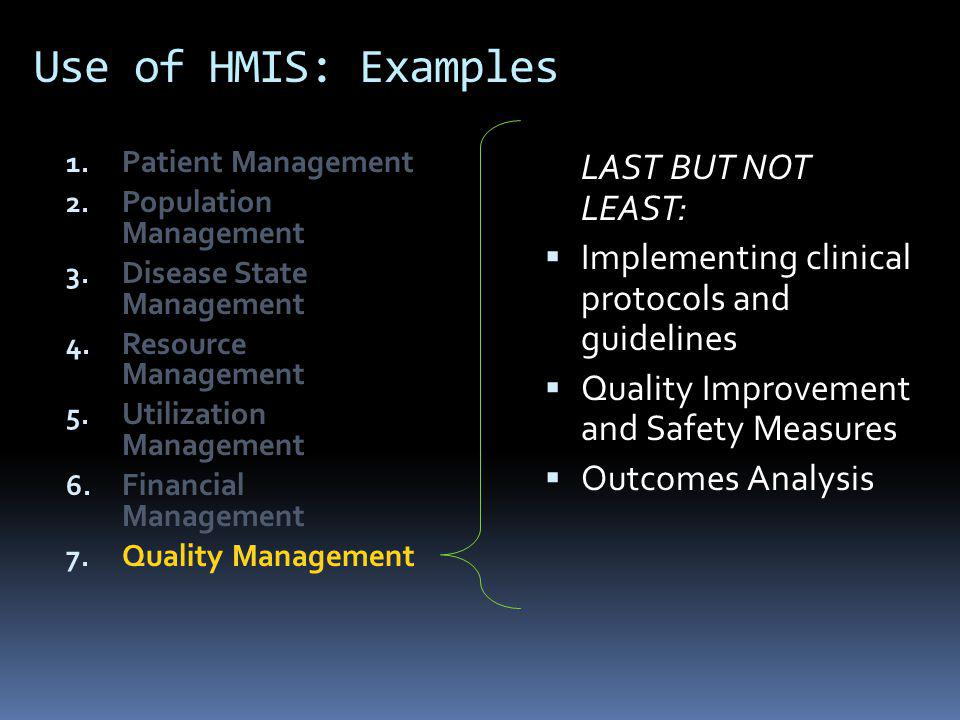 Building the Health Management Information System 8.