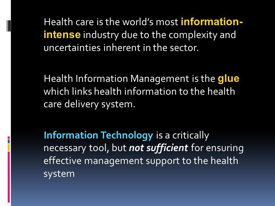A Quick Overview of the Complexity of the Information Structure of the Health System
