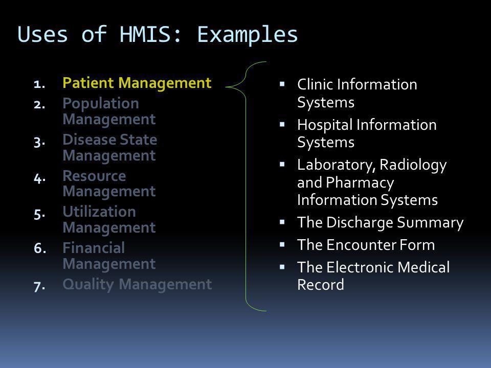 Uses of HMIS: Examples 1.Patient Management 2. Population Management 3.