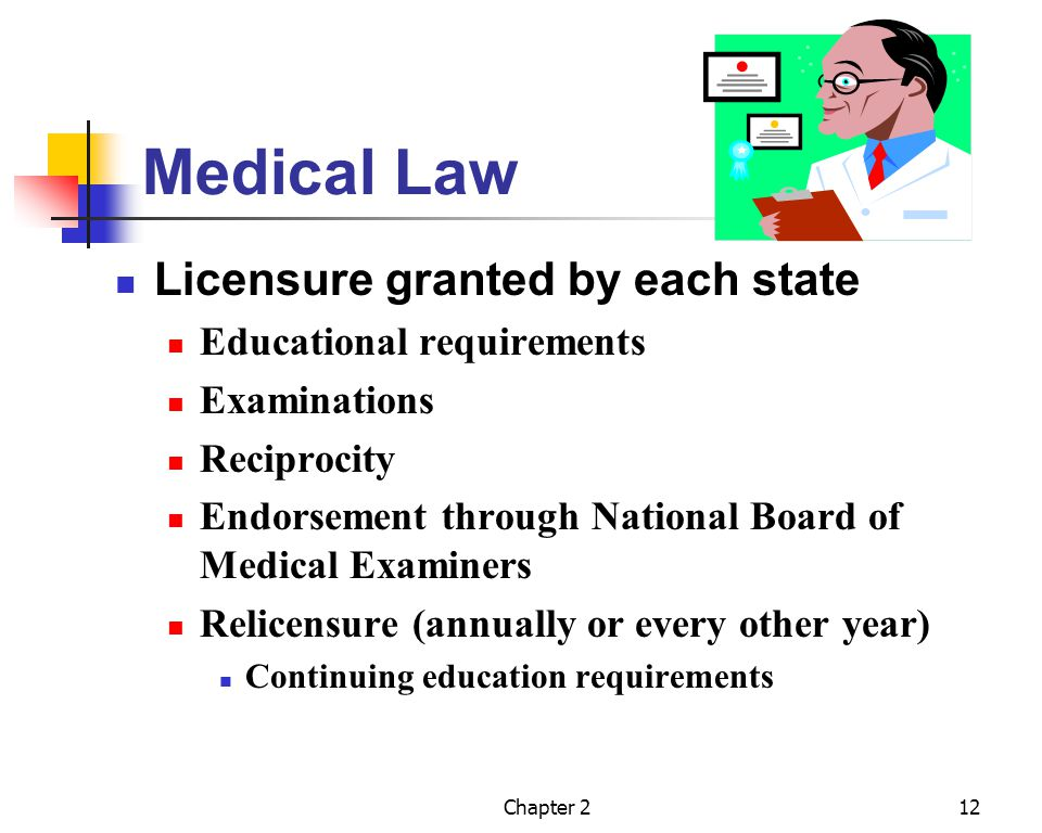 Chapter 213 Medical Law (contd) Certified Specialization American Board of Specialties Board Certified Additional academic in-hospital training as a resident Comprehensive certification examination