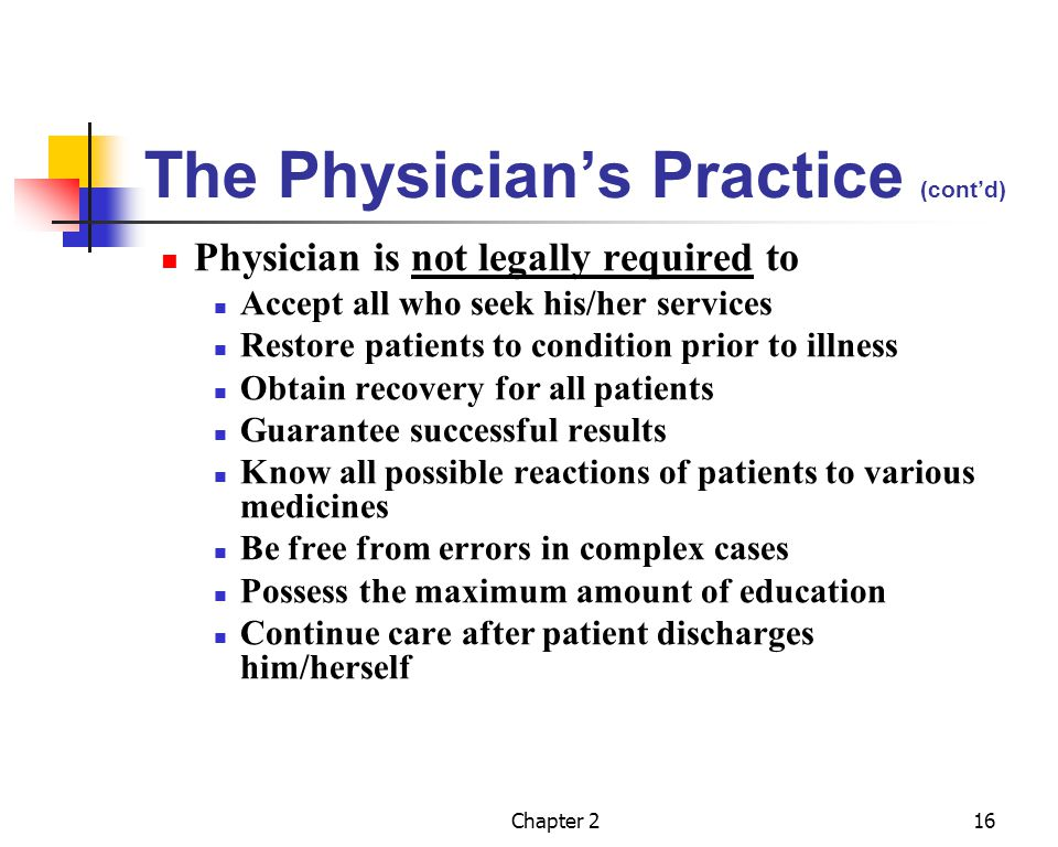 Chapter 217 Patients Responsibilities Give necessary information to allow for correct diagnosis Follow the physicians instructions and treatment Generally cooperate with physician Pay for all services rendered