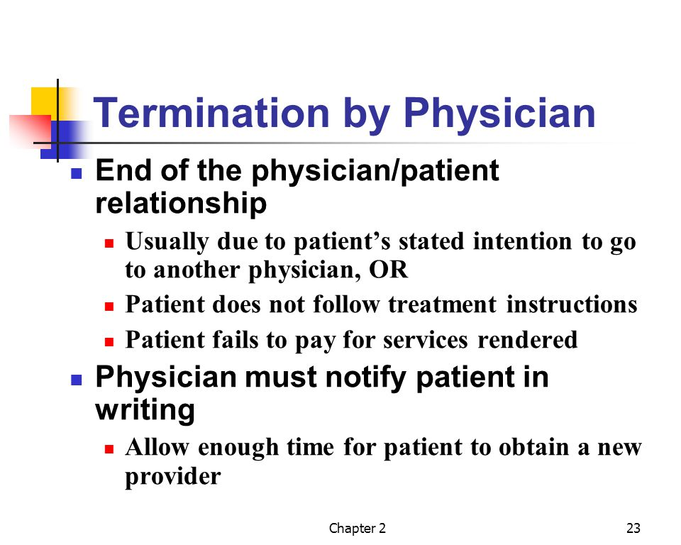 Chapter 224 Abandonment Opposite of termination Physician does not continue to treat or follow up with patient Good documentation Essential to prove that the physician did not abandon the patient