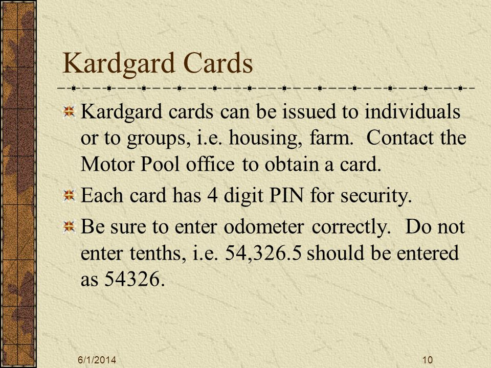 6/1/201411 Off Campus Fuel/Repairs The Voyager credit card is used to purchase the following off campus: Gas/Oil.
