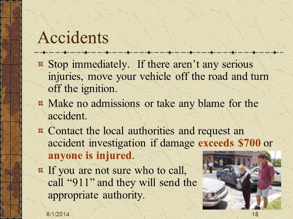 6/1/201419 Accidents All accidents must be reported to the Motor Pool even if no other vehicle was involved or the college vehicle is not damaged In each vehicle there is an accident package containing Vehicle Accident Checklist State Accident form Claims Information Brochure.