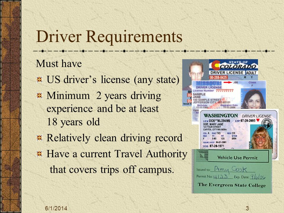 6/1/20144 Driver Record Requirements None of these offenses within the last 3 yrs: Suspension/revocation of license for reckless driving, hit and run, leaving an accident scene, failure to appear, DUI or other vehicle-related felony.