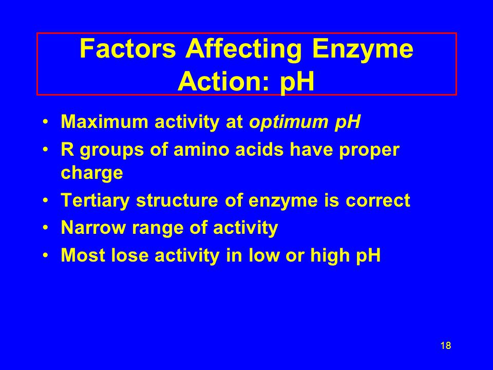 19 Factors Affecting Enzyme Action Reaction Rate Optimum pH 3 5 7 9 11 pH