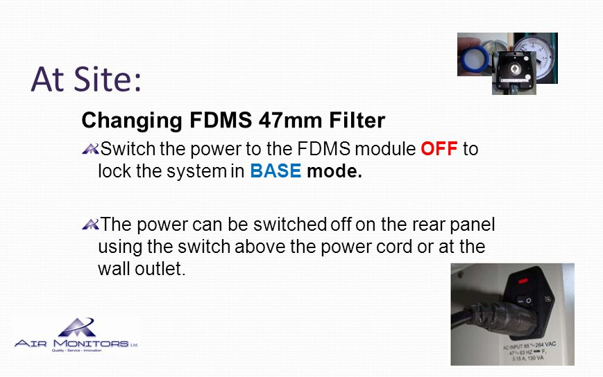 At Site: Changing FDMS 47mm Filter C Type - Open the access door on the left side of the FDMS module by releasing the black thumbscrew.
