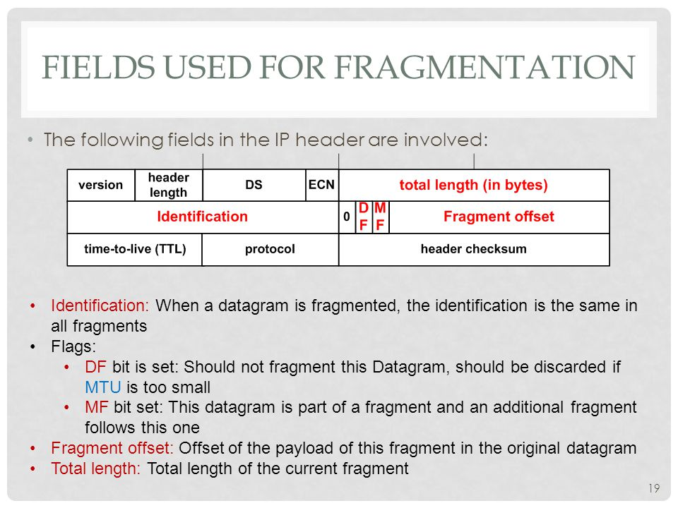 20 EXAMPLE OF FRAGMENTATION A datagram of 4000B from a network of 4000 MTU to 1500 MTU ID =x offset =0 fragflag =0 length =4000 ID =x offset =0 fragflag =1 length =1500 ID =x offset =1480 fragflag =1 length =1500 ID =x offset =2960 fragflag =0 length =1040 One large datagram becomes several smaller datagrams