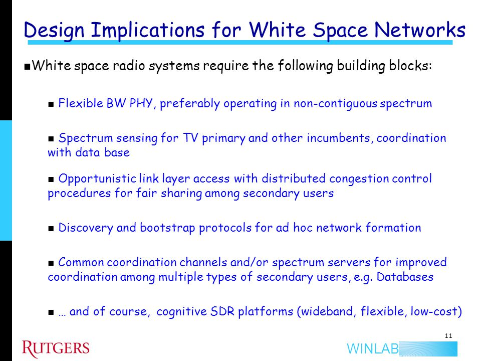 WINLAB WS Building Blocks: NC OFDMA PHY NC OFDMA approach used to opportunistically fill spectrum Allows for flexible spectrum sharing for secondary coexistence Center freq White Space Primary freq Min.